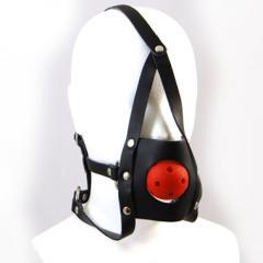 アダルトグッズ、口枷・ボールギャグ/顔面固定式(本革製/黒) LEATHERWORKS 012【SM350】の見本画像1